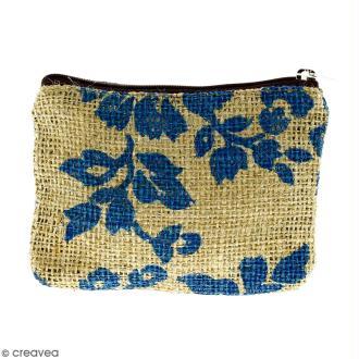 Pochette en jute naturelle taille S - Fleurs - Bleu clair - 13 x 10 cm