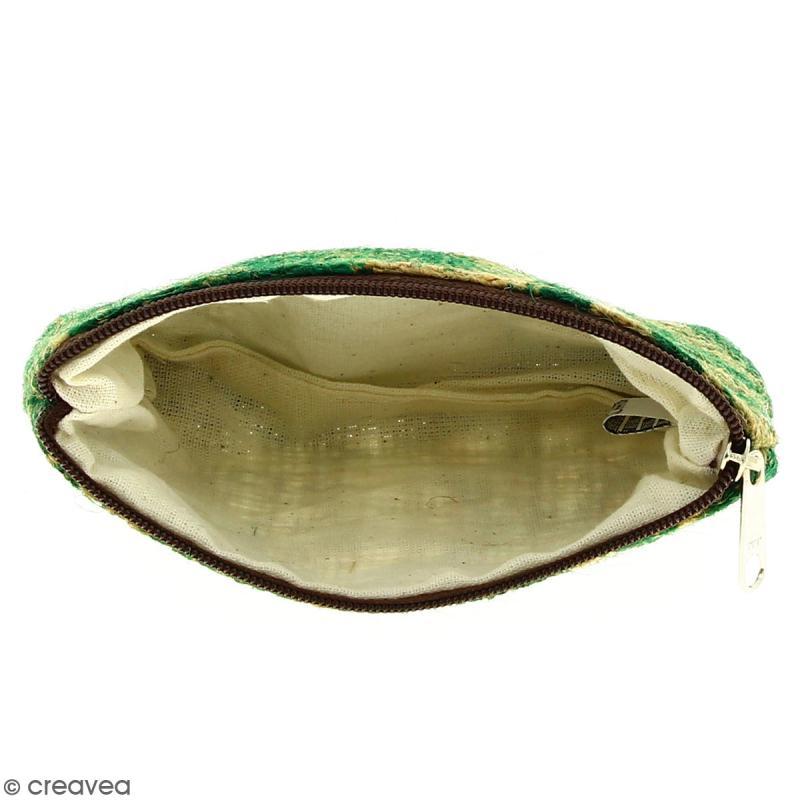Pochette en jute naturelle taille S - Paisley - Vert sapin - 13 x 10 cm - Photo n°2