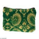 Pochette en jute naturelle taille S - Paisley - Vert sapin - 13 x 10 cm - Photo n°1