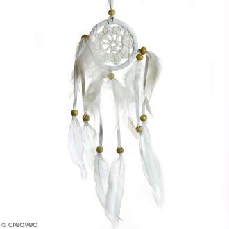 Attrape-rêves décoratif - Blanc - diamètre 6 cm
