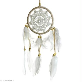 Attrape-rêves décoratif - Beige - diamètre 12 cm