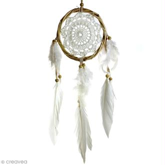 Attrape-rêves décoratif cercle naturel tressé - Beige  -  diamètre 12 cm
