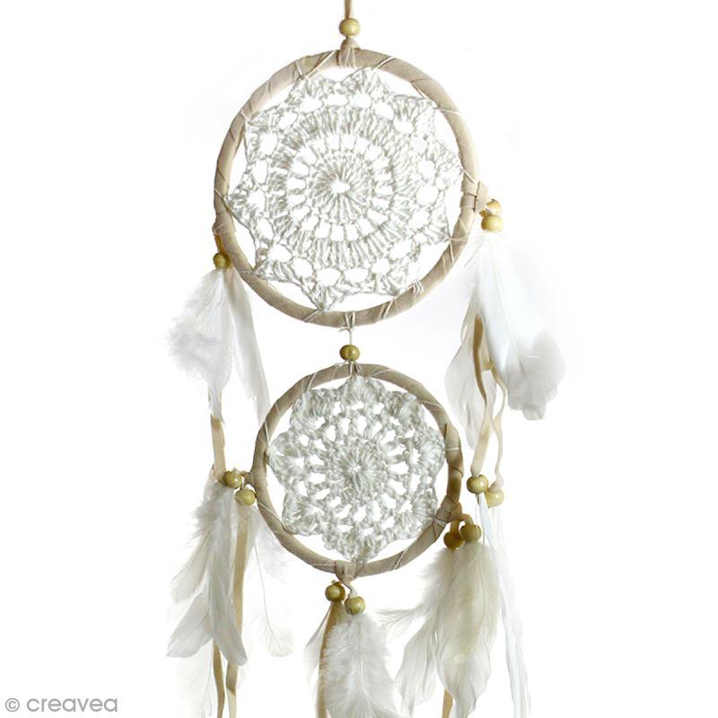 Attrape-rêves décoratif double cercle - Beige - diamètre 12 et 9 cm - Photo n°2