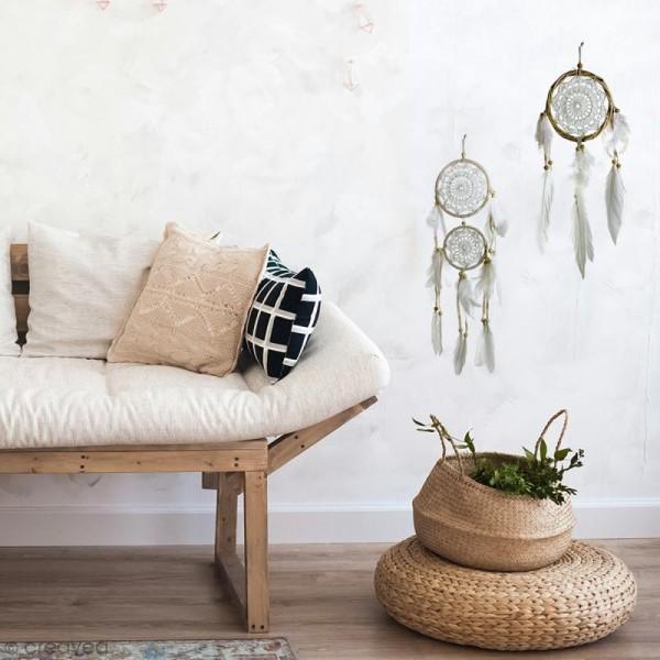Attrape-rêves décoratif double cercle - Beige - diamètre 12 et 9 cm - Photo n°3