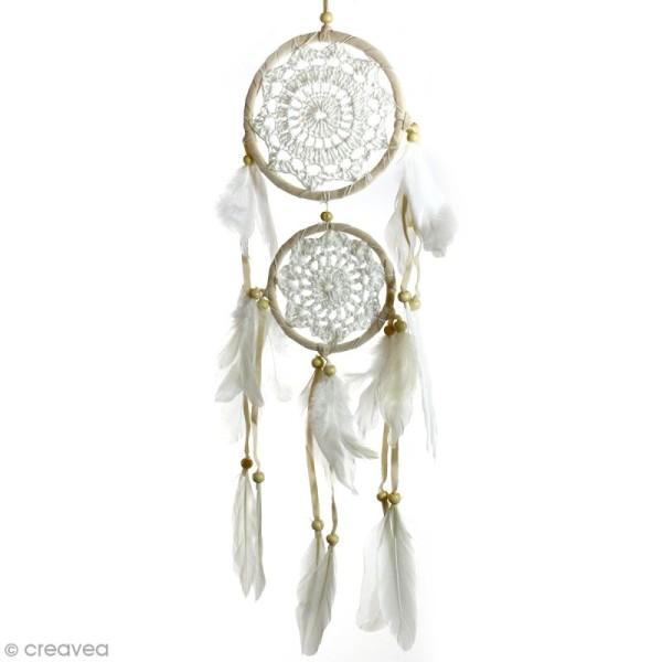 Attrape-rêves décoratif double cercle - Beige - diamètre 12 et 9 cm - Photo n°1