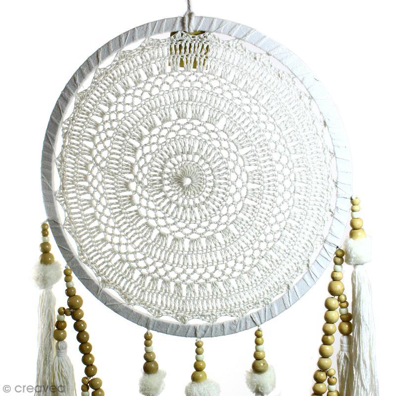 Attrape-rêves pompons décoratif - Blanc - diamètre 32 cm - Photo n°2