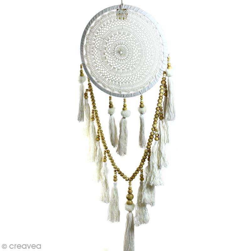 Attrape-rêves pompons décoratif - Blanc - diamètre 32 cm - Photo n°1