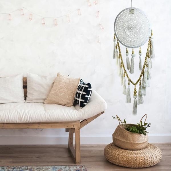 Attrape-rêves pompons décoratif - Blanc - diamètre 32 cm - Photo n°3