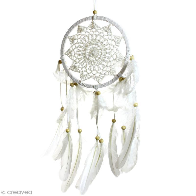 Attrape-rêves décoratif - Blanc - diamètre 16 cm - Photo n°1