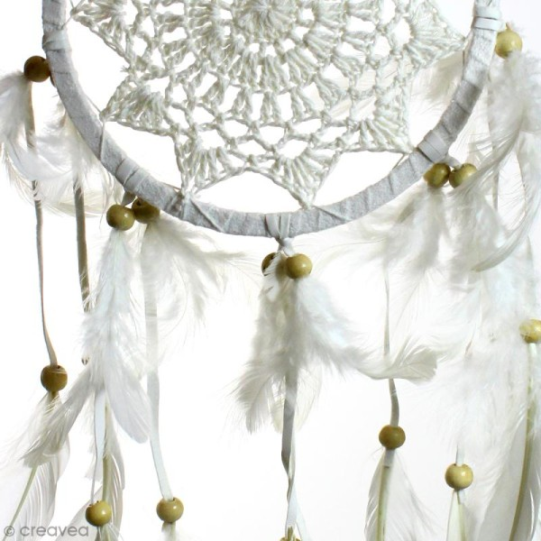 Attrape-rêves décoratif - Blanc - diamètre 16 cm - Photo n°2