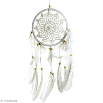 Attrape-rêves décoratif - Blanc - diamètre 16 cm
