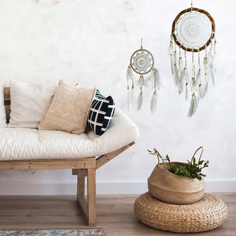 Attrape-rêves décoratif cercle naturel tressé - Beige - diamètre 22 cm - Photo n°3