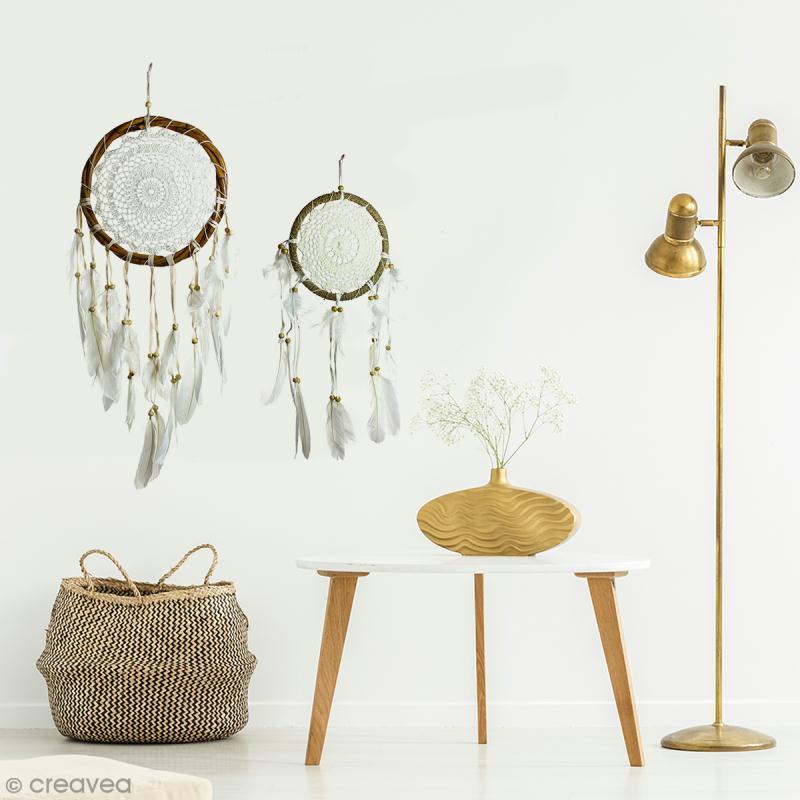 Attrape-rêves décoratif cercle naturel tressé - Beige - diamètre 22 cm - Photo n°4