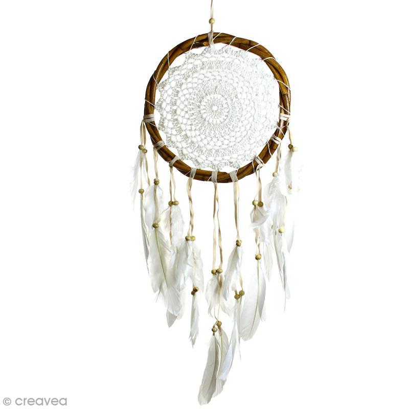 Attrape-rêves décoratif cercle naturel tressé - Beige - diamètre 22 cm - Photo n°1
