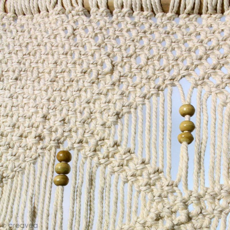 Tissage mural macramé déco - Perles en bois - 110 x 60 cm - Photo n°3