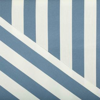 Tissu toile d'extérieur - Largeur 160cm - Rayures bleu & blanc - PAR 50CM