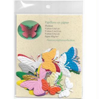 Papillons en papier pour scrapbooking 33 pièces couleurs assorties
