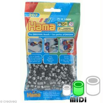 Perles Hama Midi diam. 5 mm - métal argent x1000