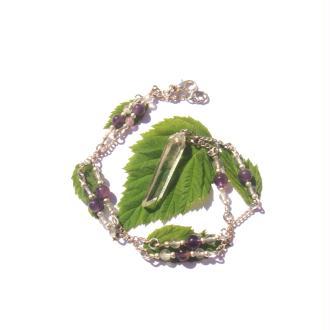 Pureté  : Collier Cristal Lémurien, Améthyste, Fluorine 43 CM