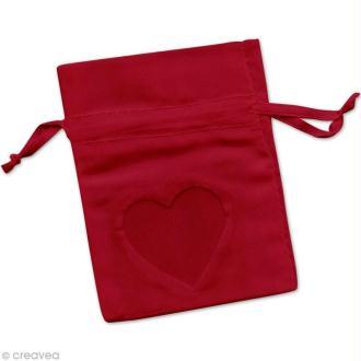 Sachet organza avec fenêtre coeur 7,5 x 10 cm - Rouge x 6