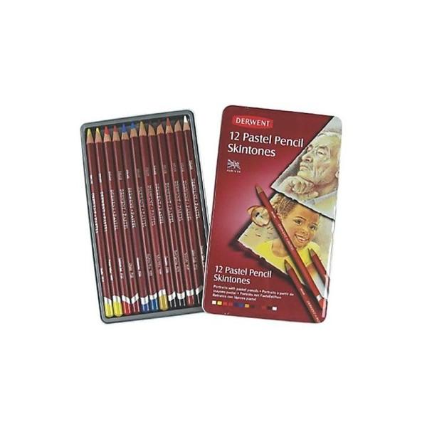 Derwent Skintones Coffret 12 crayons pastel Boîte en métal (Import Royaume Uni) - Photo n°1