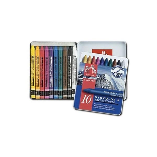 Caran D'Ache Neocolor II - Crayons Pastels cire soluble dans l'eau - Bote de 10 - Photo n°1