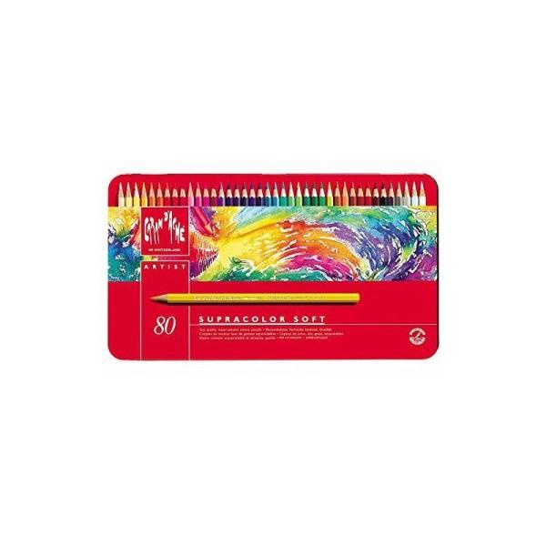 Caran d'Ache Supracolor Soft Lot de 80 crayons en coffret métal Couleurs assorties - Photo n°1