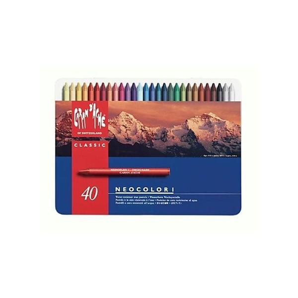 Caran D'Ache Neocolor I - Crayons Pastels cire soluble dans l'eau - Boîte de 40 - Photo n°1