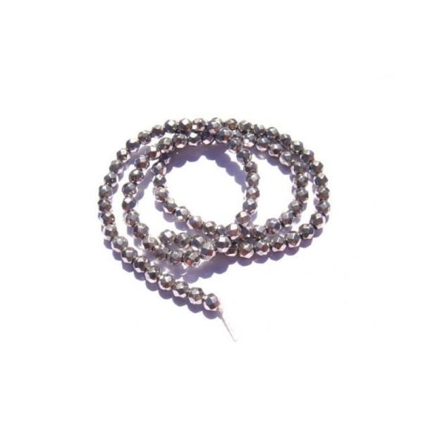 Hématite argentée : 10 Perles facettées 4 MM de diamètre - Photo n°1