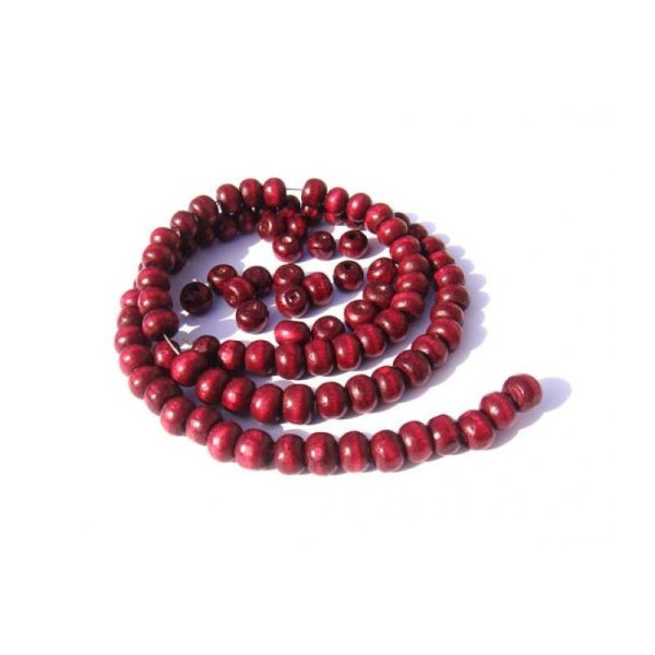 50 perles irrégulières en bois 5 MM x 6 MM couleur Rose Indien - Photo n°1
