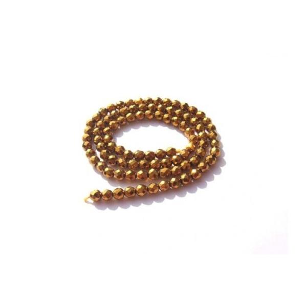 Hématite dorée : 10 Perles facettées 4 MM de diamètre - Photo n°1