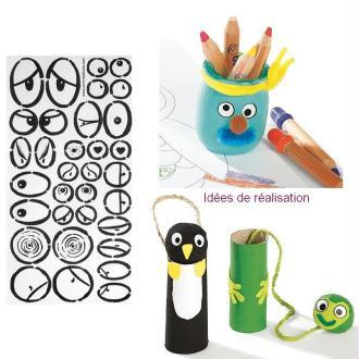 Yeux autocollants pour personnages, dim.1,7 à 4,2 cm, gommettes adhésives ballons, fofucha