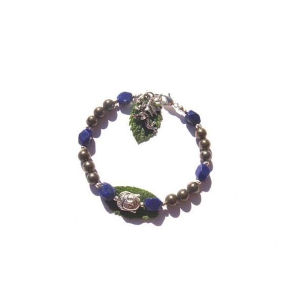 Elévation et Structure : Bracelet Pyrite et Lapis Lazuli 18 CM de tour de poignet - Photo n°2