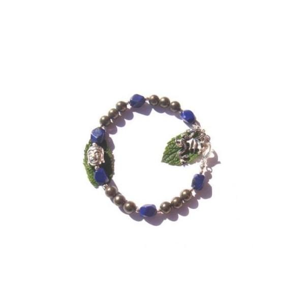 Elévation et Structure : Bracelet Pyrite et Lapis Lazuli 18 CM de tour de poignet - Photo n°1