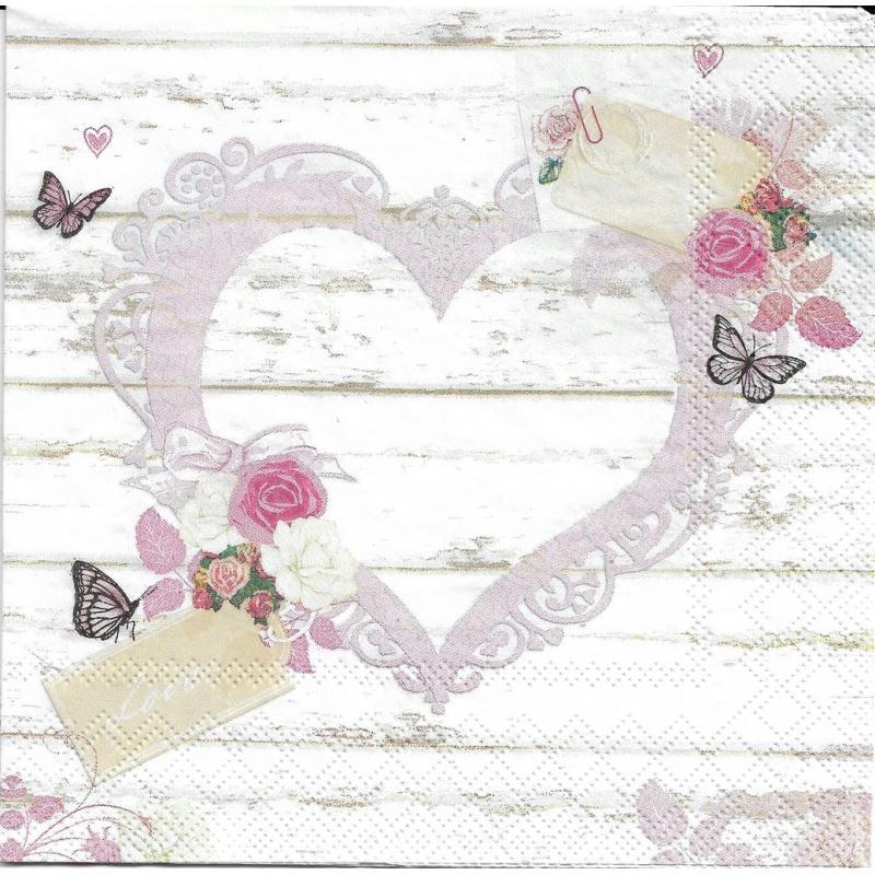 4 serviettes en papier c ur amour tag format lunch serviette en papier mariage creavea. Black Bedroom Furniture Sets. Home Design Ideas