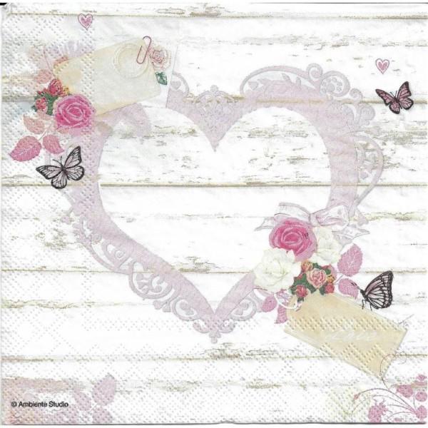 4 Serviettes en papier Cœur Amour Tag Format Lunch - Photo n°2