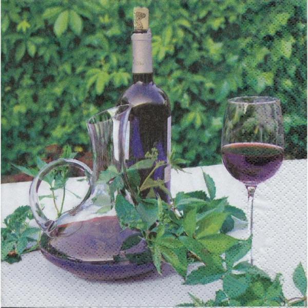 4 Serviettes en papier Vin Carafe Cuisine Format Lunch - Photo n°1