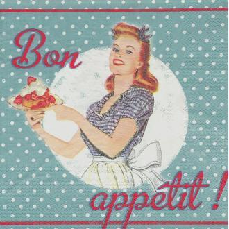 4 Serviettes en papier Années 50 Bon Appétit Format Lunch