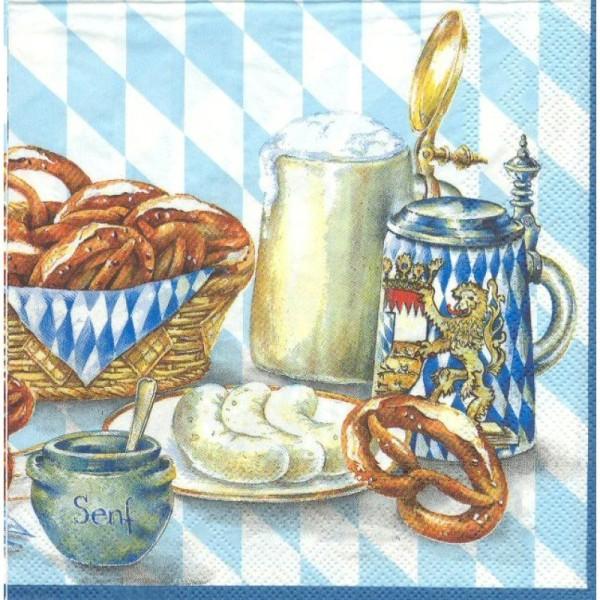 4 Serviettes en papier Bière Bretzel Bavière Format Lunch - Photo n°1