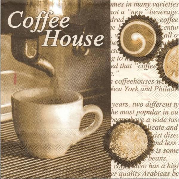 4 Serviettes en papier Café Coffee House Format Lunch - Photo n°1