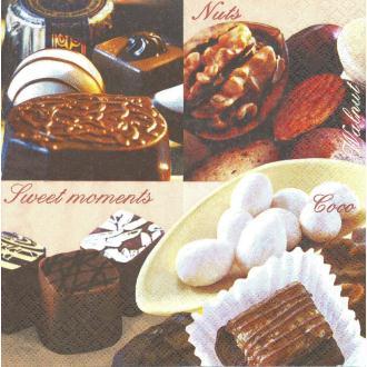 4 Serviettes en papier Chocolats Format Lunch
