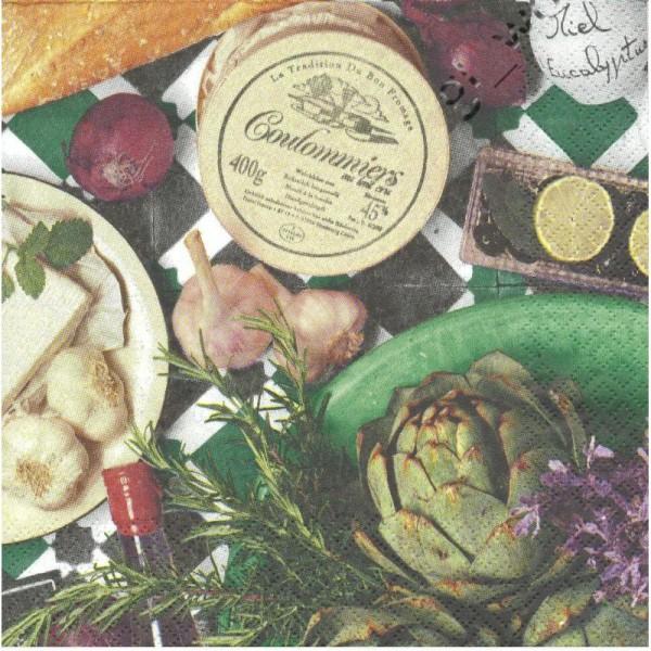4 Serviettes en papier Fromage Artichaut Ail Pain Format Lunch - Photo n°1