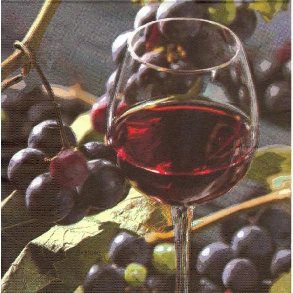 4 Serviettes en papier Vin Rouge Raisin Format Lunch - Photo n°1