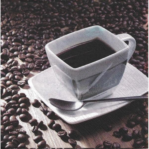 4 Serviettes en papier Tasse & grains de café Format Lunch - Photo n°1