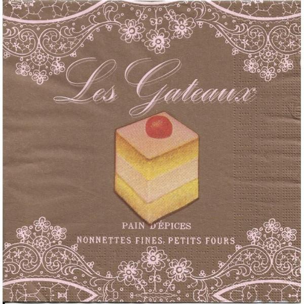 4 Serviettes en papier Les Gateaux Format Lunch - Photo n°1