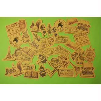 LOT DE 45 STICKERS Vintage animaux , plantes ...