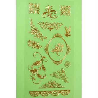LOT DE 12 STICKERS Vintage Foil embossé doré