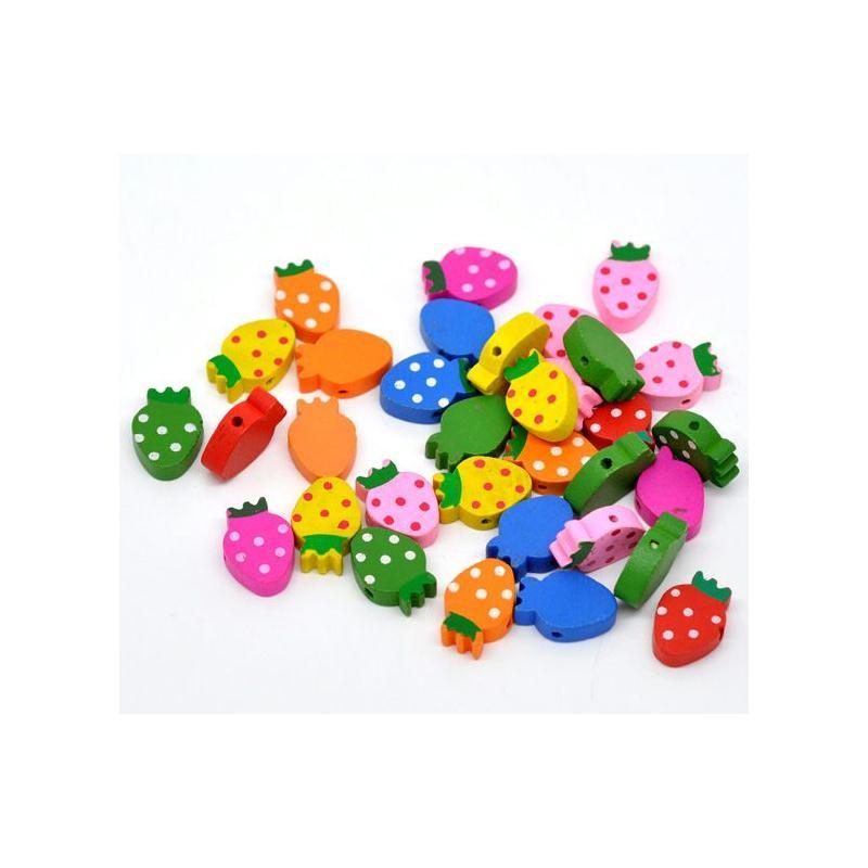 10 perles en bois fraise 20mm x 14mm attache tetine bijoux - Perle en bois pour attache tetine ...