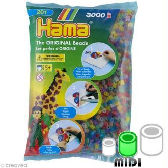 Perles Hama Midi diam. 5 mm - Assort. transparent x3000