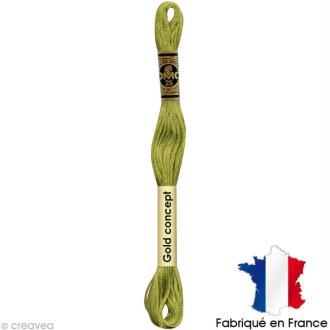Fil à broder DMC mouliné spécial Vert / jaune 166 - Echevette 8 m